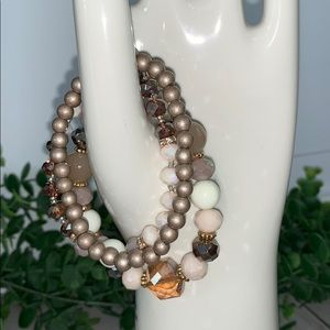 3 beaded bracelets New champagne pink peach shiny